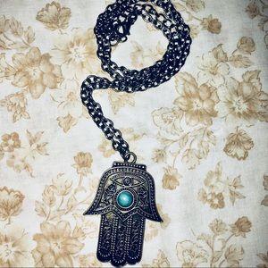 Jewelry - Hamsa Hand w Turquoise Stone Detailed Necklace